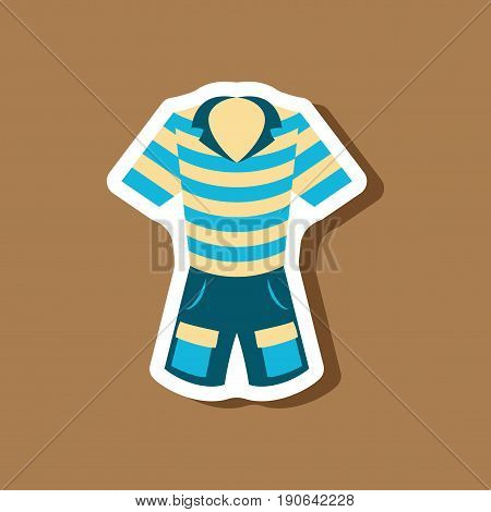 paper sticker fashion clothes Shorts and polo shirt