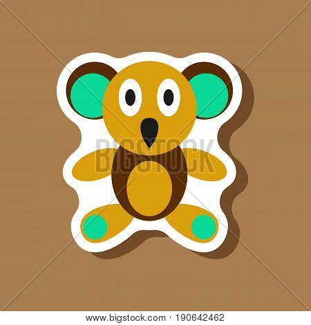 paper sticker on stylish background Koala toy