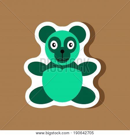 paper sticker on stylish background Toy panda
