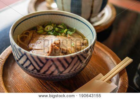 Hot Japanese Ramen Noddle serve with pork.