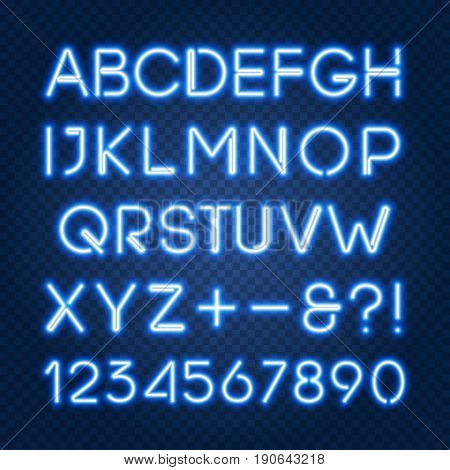 Glowing blue neon lights alphabet with capital letters and numbers. Isolated objects abc typeset font uppercase characters easy to change color and place on any dark background vector EPS 10