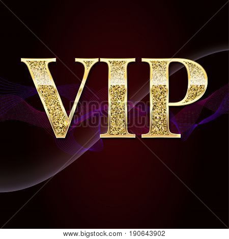 Golden symbol of exclusivity, the label VIP with glitter. Very important person - VIP icon on elite, abstract a wave of smoke background, luxury card. Template for vip banners, invitation or cover. poster