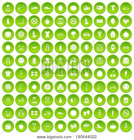 100 fitness icons set green circle isolated on white background vector illustration