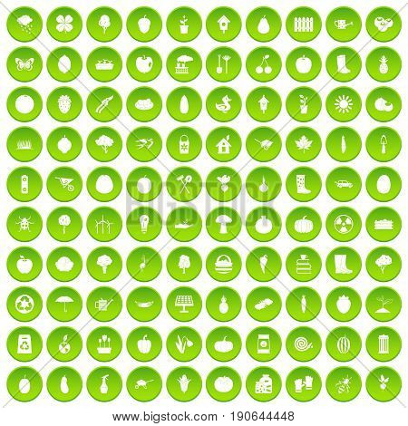 100 garden icons set green circle isolated on white background vector illustration