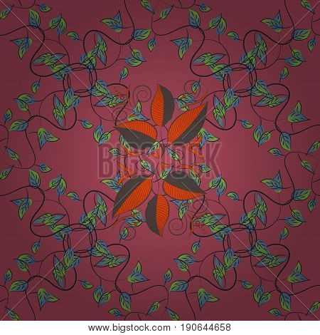 Multicolor ornament of small simple blue flowers vector abstract seamless pattern for fabric or textile design.