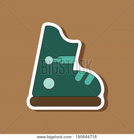 paper sticker on stylish background ski boots
