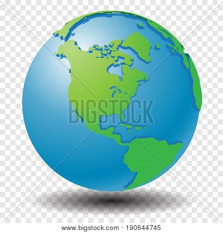 Globe with world map, show America region with smooth vector shadows on transparency grid - vector illustration