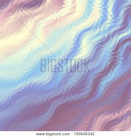 Wavy abstract diagonal pattern in low poly style. Gamma in pastel colors.