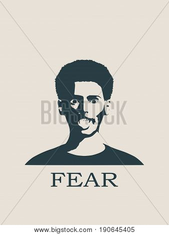 Face Screaming in Fear. Screaming in Fear Emoji. Scared Face Icon. Face front view. Elegant silhouette of a female head. Vector Illustration. Monochrome gamma.