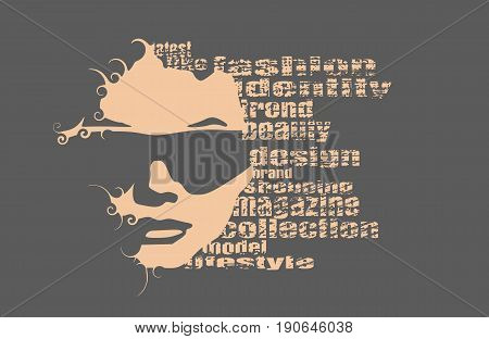 Face front view. Elegant silhouette of a female head. Vector Illustration. Monochrome gamma. Fashion Relative Keywords Cloud. Portrait with sunglasses