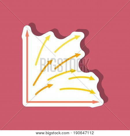 paper sticker on stylish background Arrow chart