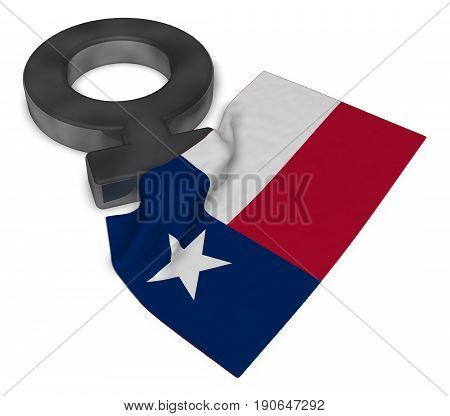 female symbol and flag of texas - 3d rendering