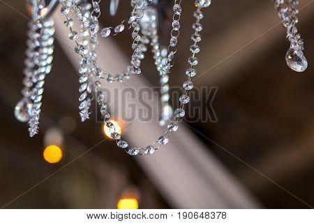 Lamp crystal in light background. bokeh gku hgh