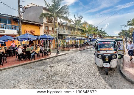 Guatape, Colombia- March 6, 2017:Street in the center of Guatape Colombia