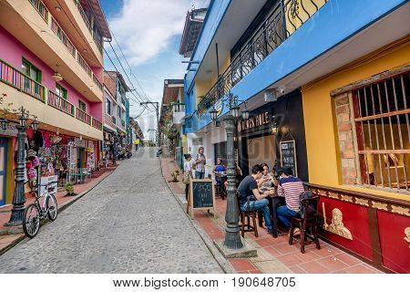 Guatape, Colombia- March 6, 2017: Colorful Colonial houses in Guatape Colombia