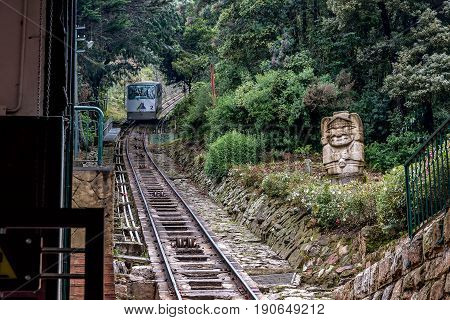 Bogota, Colombia- March 10, 2017:Cable car Funicular oldest metro to Monserrate Mountain in Bogota Colombia