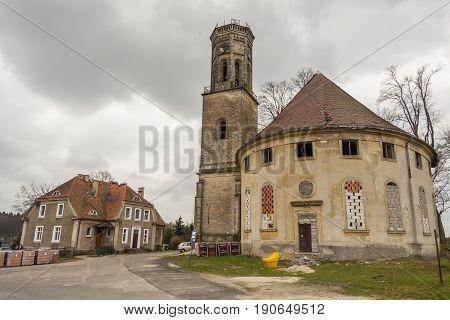 Outdoor of old Evangelical church in Zeliszow village Poland Europe.