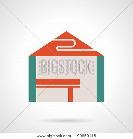 Abstract symbol of tent with red roof and table. Rent places and structures for trade and commercial events. Flat color style vector icon.