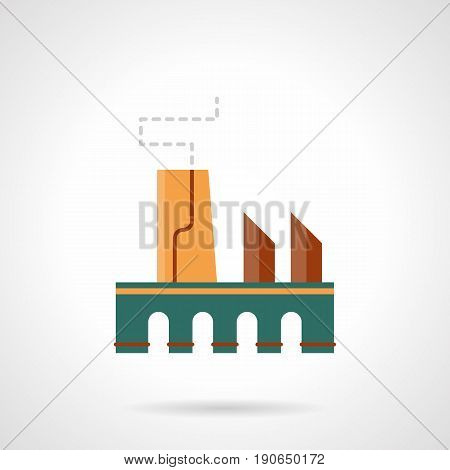 Abstract symbol of ski factory building. Industrial facility and architecture. Flat color style vector icon.