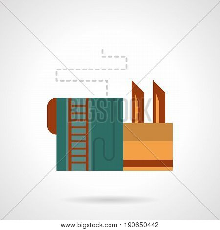 Abstract symbol of beer factory with storage tank. Industrial buildings and facilities. Flat color style vector icon.