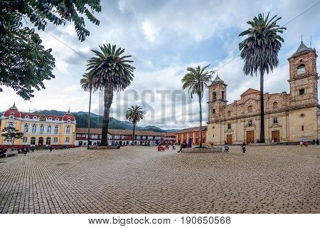 Bogota, Colombia- March 9, 2017:Cathedral of the Most Holy Trinity at the main square in Zipaquira Bogota Colombia