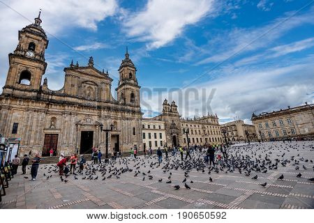 Bogota, Colombia- March 10, 2017: Cathedral at Bolivar square in Bogota Colombia