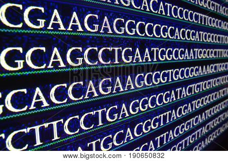 Sequencing of the genome in the laboratory. Sequence of genes in symbols of nucleotide bases.