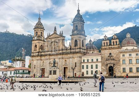 Bogota, Colombia- March 10, 2017:Cathedral at Bolivar square in Bogota Colombia