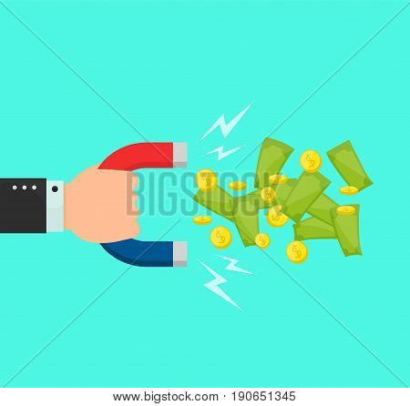 Hand with a big magnet attracts money dollar coins bilks. Vector flat cartoon illustration modern syle icon design. Isolated on blue background