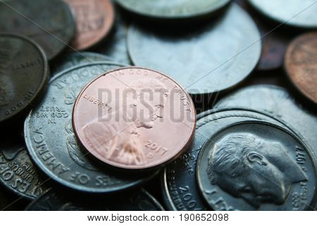 Penny Close Up High Quality Stock Photo