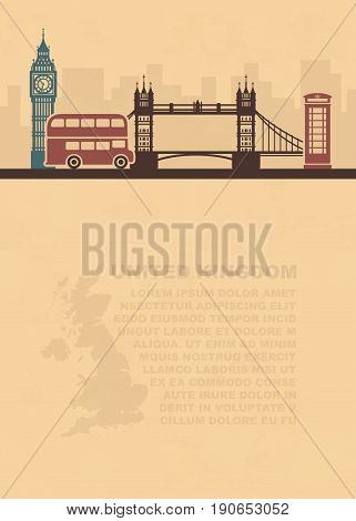 Pattern leaflets with a map of great Britain and landmarks of London