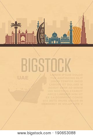 Pattern leaflets with a map of the UAE and Dubai attractions