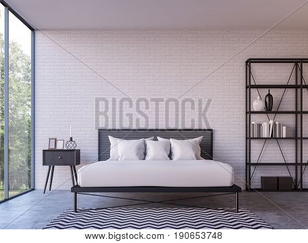 Modern loft bedroom with nature view 3d rendering image Furnished with Black steel furniture has white brick walls and large windows look out to nature.