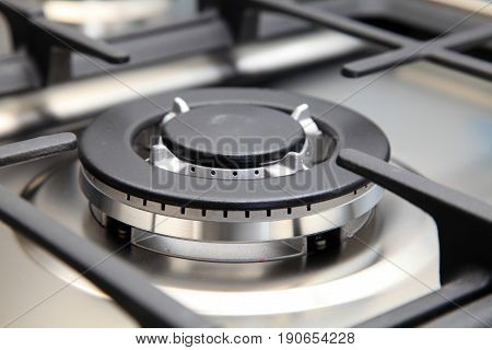 Close up image of the new gas stove in modern kitchen