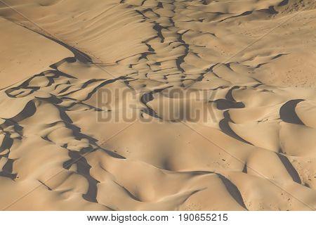Dunes at the sceleton coast - aerial view Namibia Africa