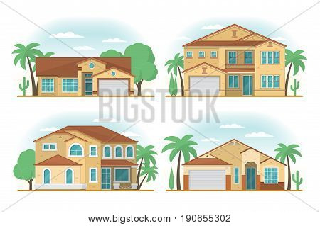 Set of Frontview of USA Arizona style suburban private houses. Flat design. Vector illustration.
