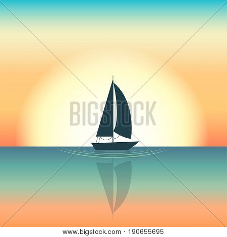 Silhouette of a sailing boat floating in the middle of the sea Setting sun on background Cartoon style