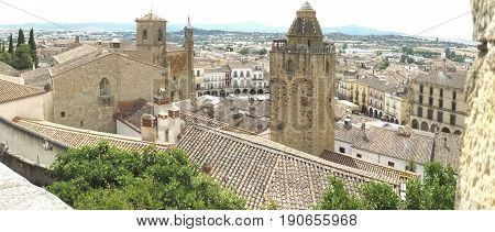 Panoramic view from upper side to the centre of medieval Trujillo town. Caceres Extremadura Spain