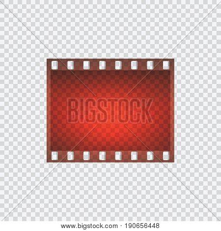One frame of film on a transparent background. Film for cameras. Vector illustration.