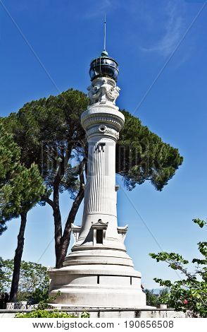 Rome, Italy - April 17, 2017: Manfredi Lighthouse on the hill Gianiculum in Rome, Italy. Built in 1911, it was a gift from Italian immigrants in Argentina to Rome.