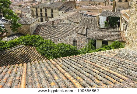 View from upper side of roofs of medieval Trujillo town Spain. Spanish roof tile