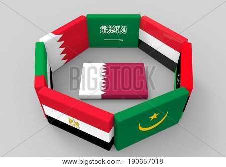 3d rendering. qatar country flag on the floor which surround by some middle east country flags.