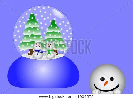 Two Snowmen In A Glass