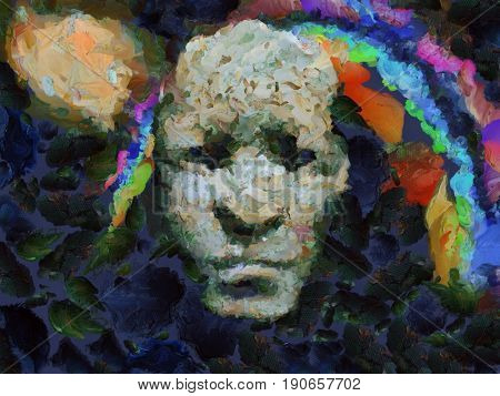 Surreal painting. Mystic face on rainbow and galaxy background.  3D rendering