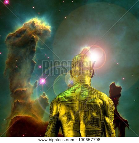 Surreal digital art. Naked man with electric circuit pattern on his skin stands before horse nebula in deep space.  3D rendering  Some elements provided courtesy of NASA