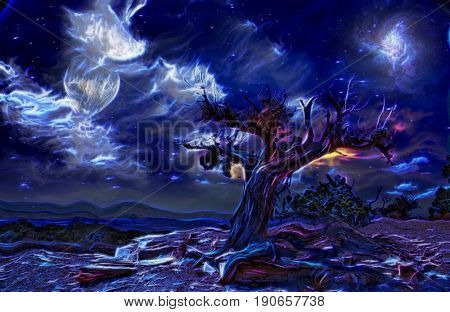 Surreal painting. Old tree, full moon and mystic clouds in the sky.  3D rendering  Some elements provided courtesy of NASA