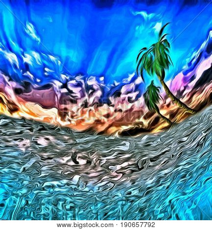 Abstract digital painting. View from underwater on a palm tree.  3D rendering