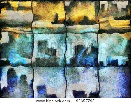 Abstract painting. Urban silhouettes on square mosaic pattern.  3D rendering