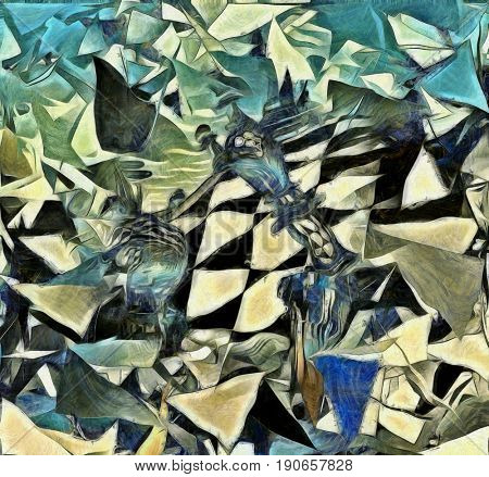 Abstract painting. Chess boards and overlapping layers.  3D rendering