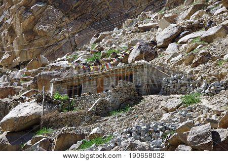 Traditional house near Kargil in Ladakh, India